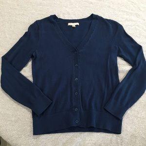 Navy blue Banana Republic vneck button up cardigan